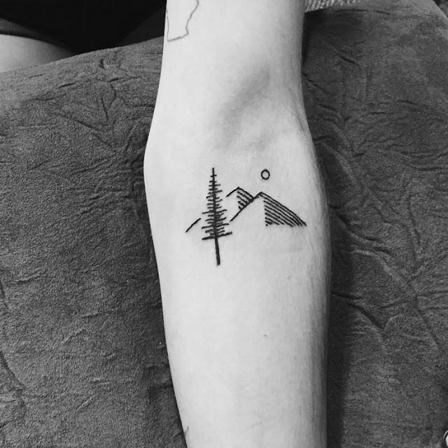 Cute Mountain Tattoo on forearam