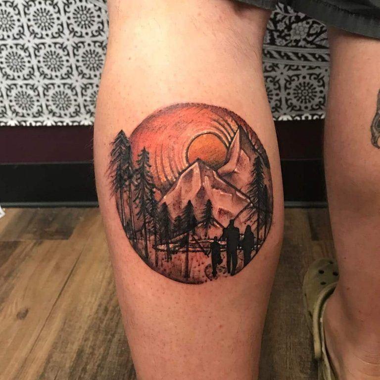Sun Rise Mountain Tattoo on Leg on Men