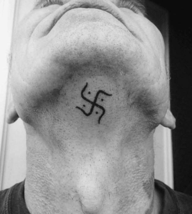 Swastik Tattoo on Neck
