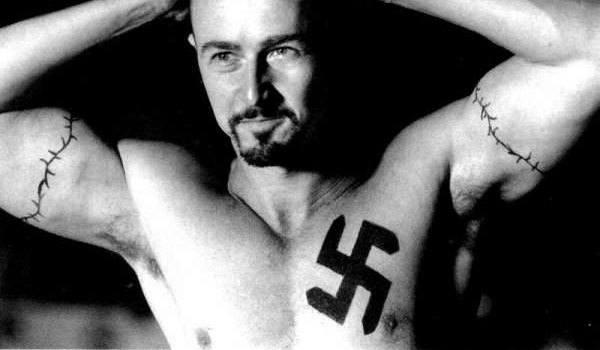 Big  Swastik Tattoo on chest
