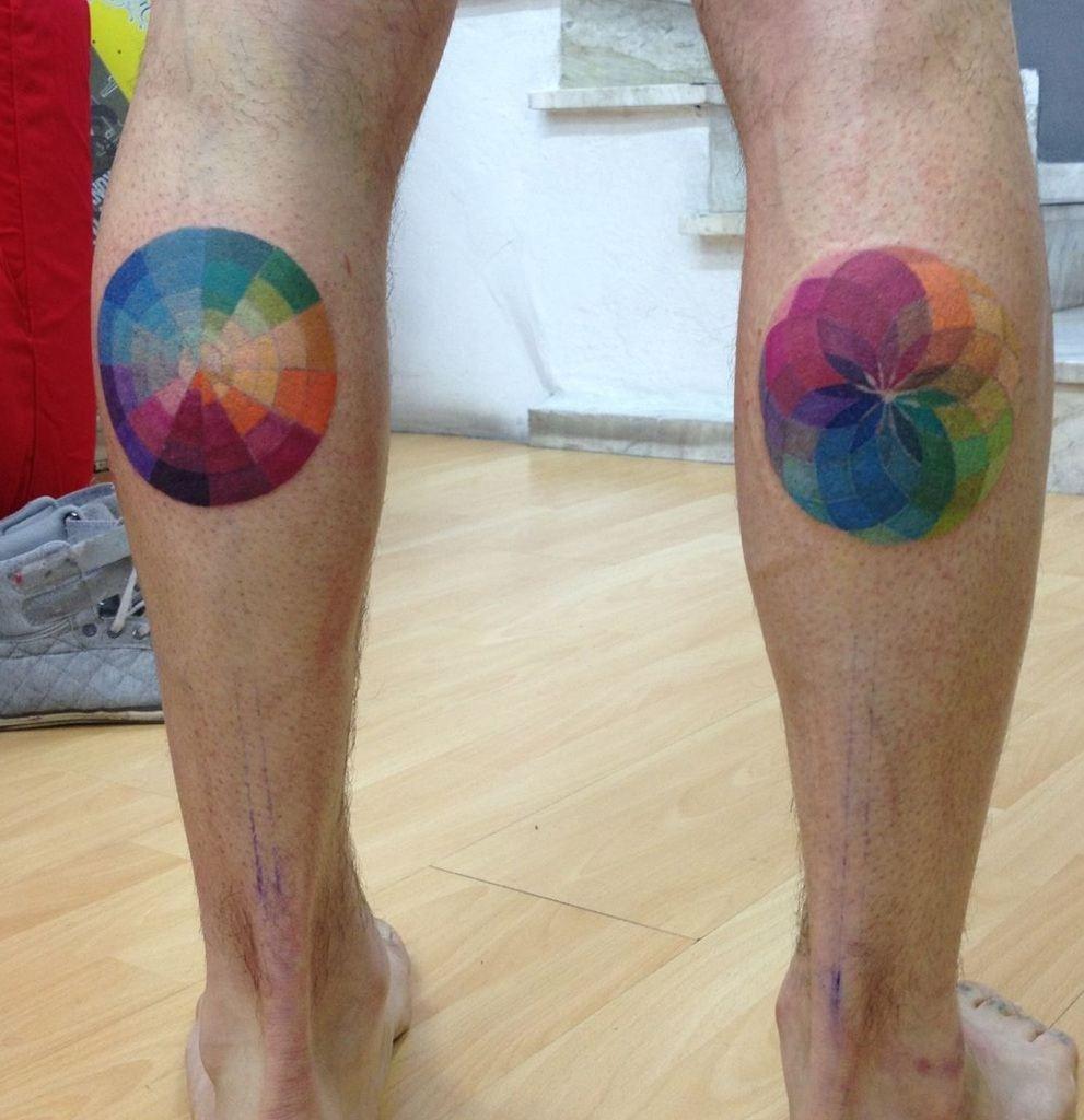 Colorful Circle Tattoo on Leg