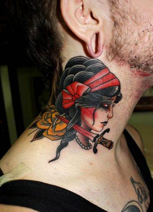 Gypsy Tattoo with sword for men on neck