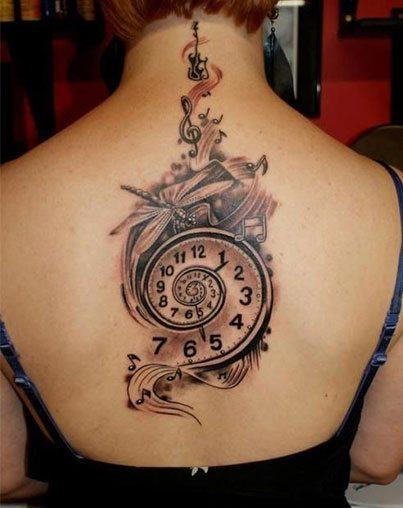 Beautiful long Pocket Watch Tattoo  for women