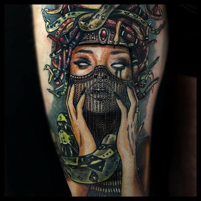 Feminine power Medusa Tattoo on leg