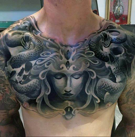 Medusa Tattoo on chest for men