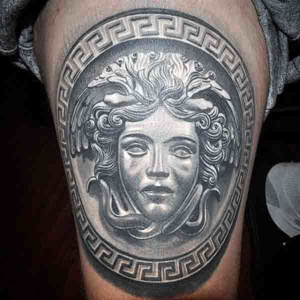 simple Medusa Tattoo on leg for men