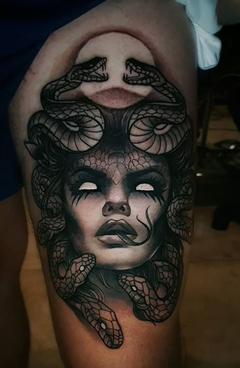 evil Medusa Tattoo for women on leg