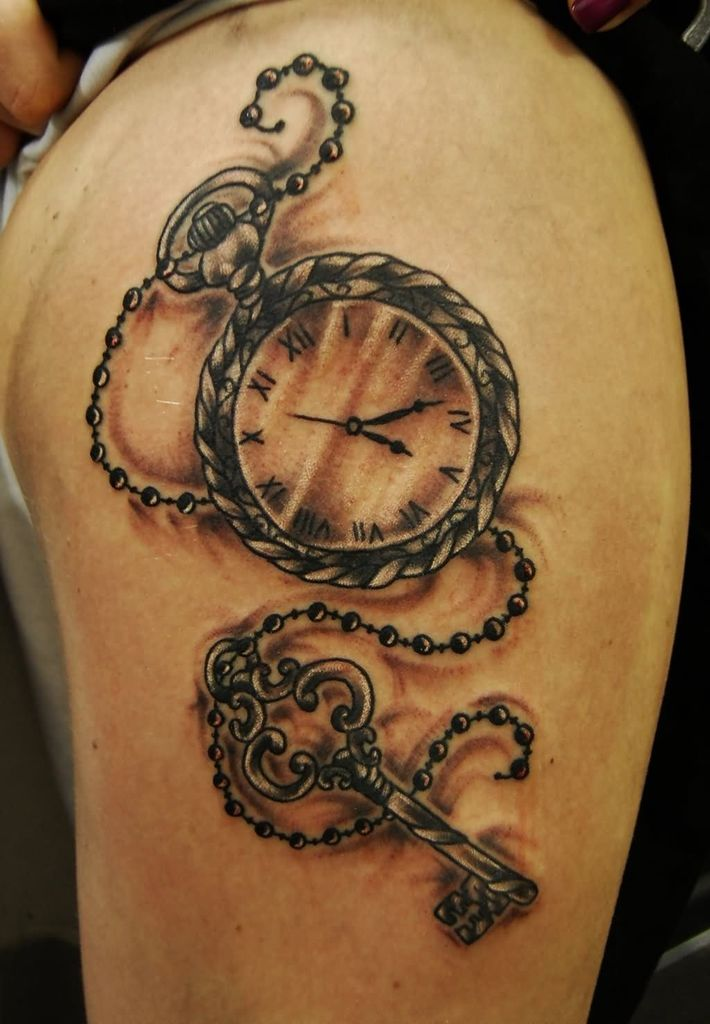 Pocket Watch Key Chain Tattoo