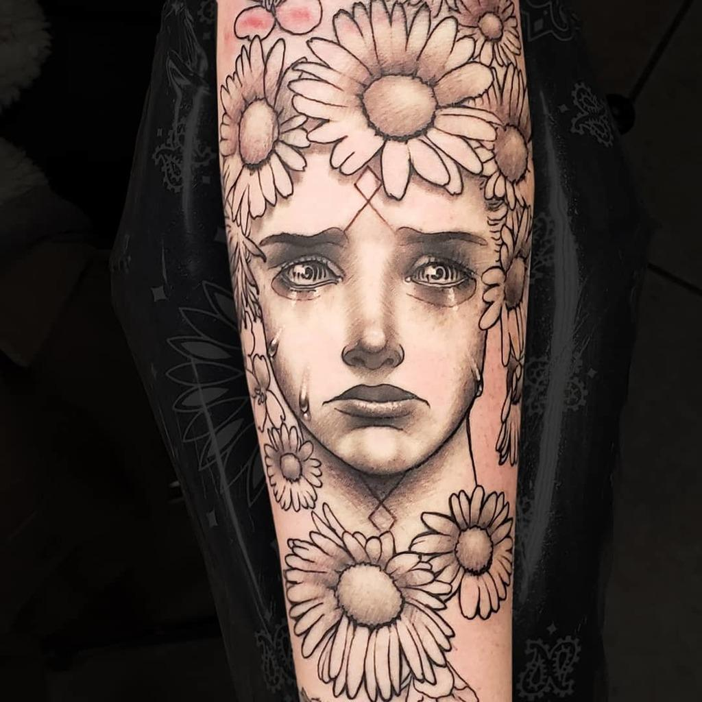 Girl Framed by Daisy  Flower Tattoo