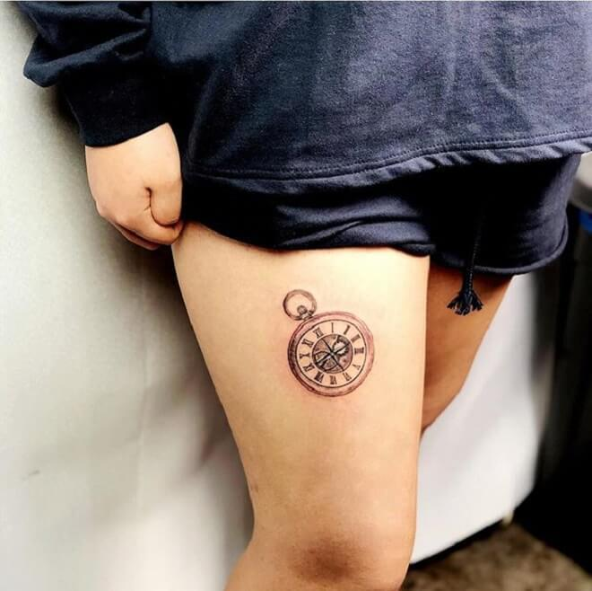 Pocket Watch Tattoo  on thigh for girl