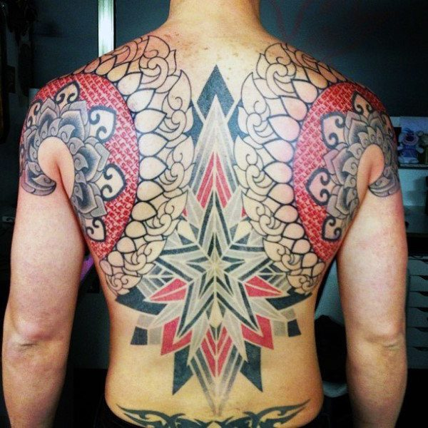Star Tattoo on back for men