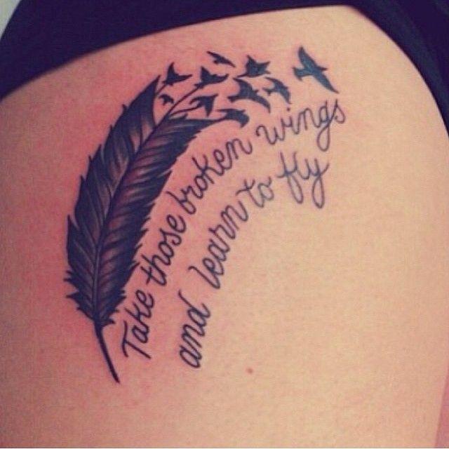 Amazing Broken Feather Tattoo on thai for women