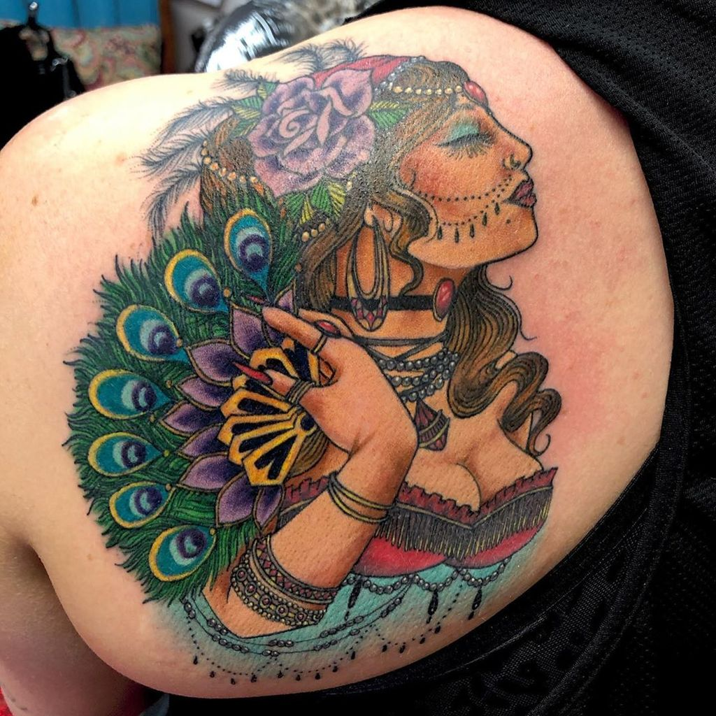 Sexy Gypsy Tattoo on back shoulder for women