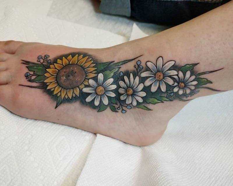 Colorful Daisy and Sunflower Tattoo on foot