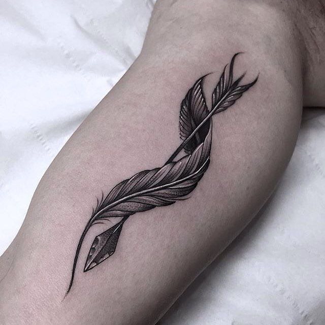 Simple Feather Tattoo with arrow for men