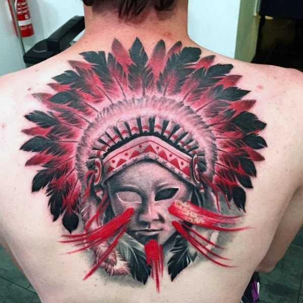 Big Feather Tattoo for men on back