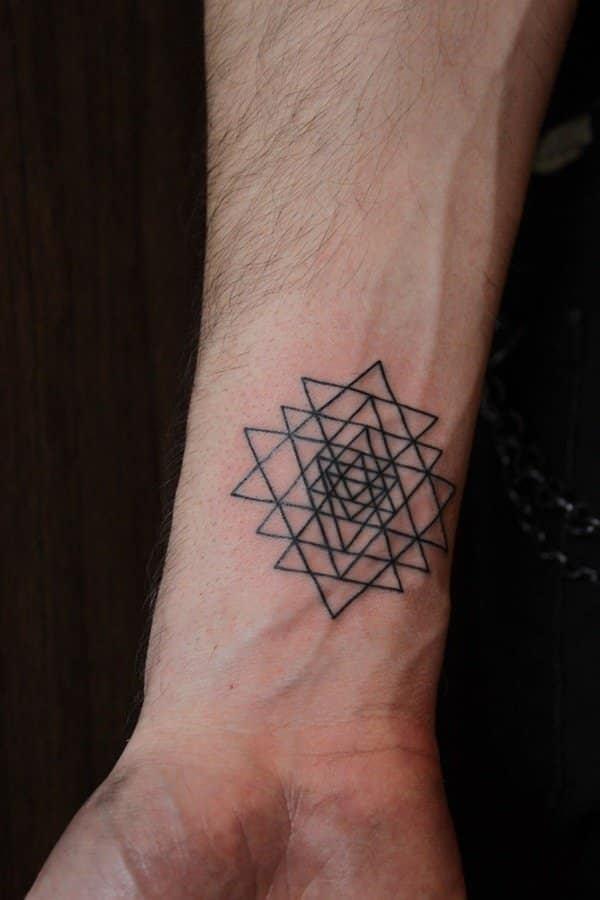 Geometric Star Tattoo for men on wrist