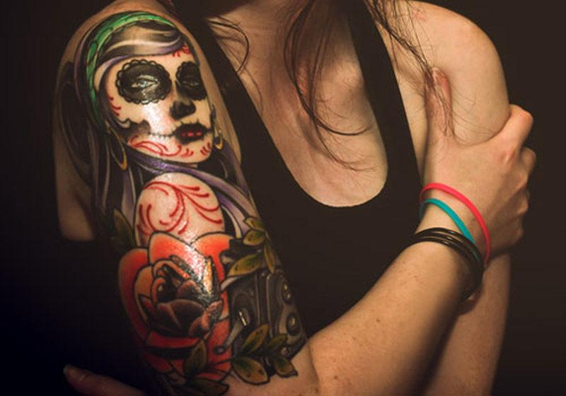 Colorful sleeve Gypsy Tattoo for girl