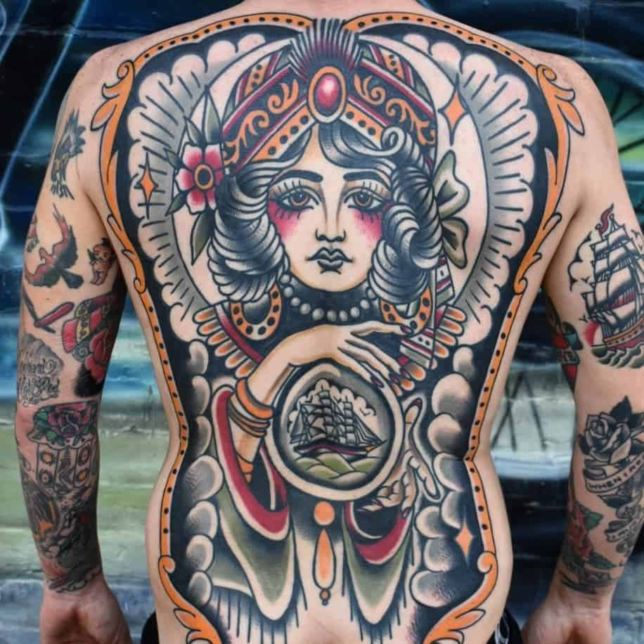 Gypsy Tattoo at back for men