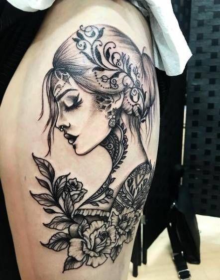 Black Color Gypsy Tattoo