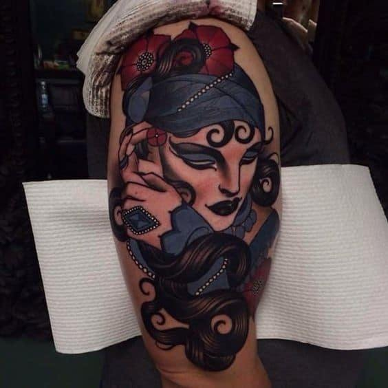 Gypsy Tattoo with rose for men