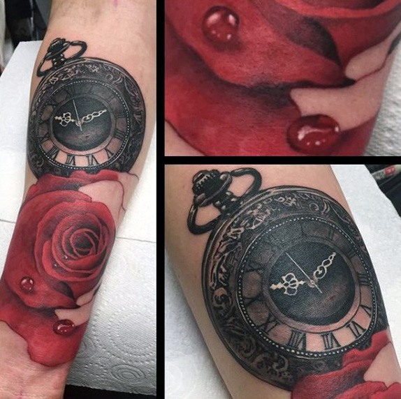 Pocket Watch Tattoo  with Rose for men