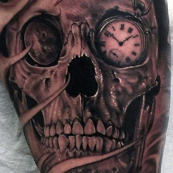 Pocket Watch Tattoo  with skull