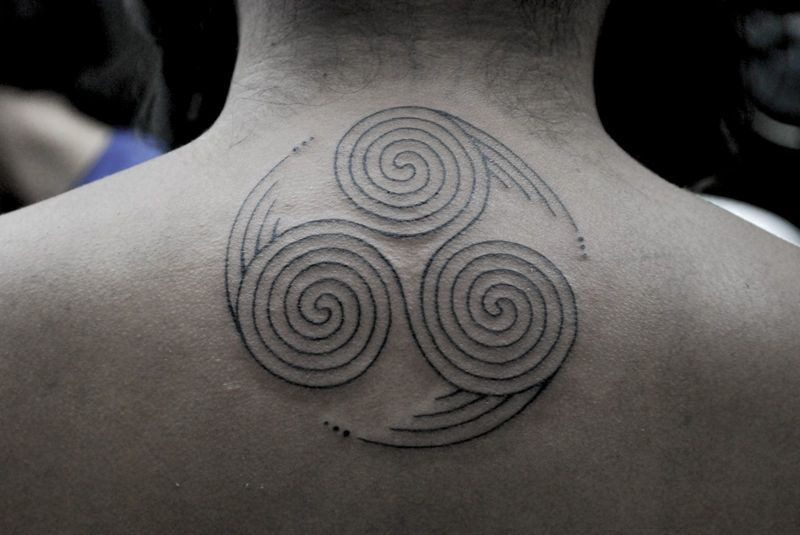 Adinkra Tattoo for men on neck