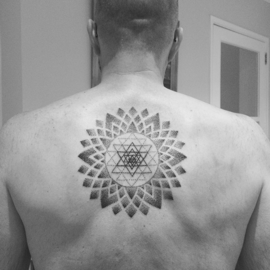 Sri Yantra Star Tattoo at back for men