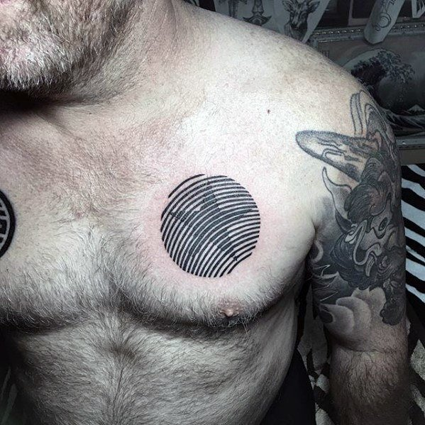 Black Star Tattoo for men on chest