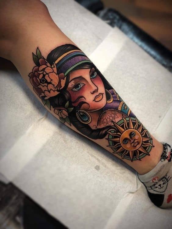 Gypsy Tattoo on leg for women
