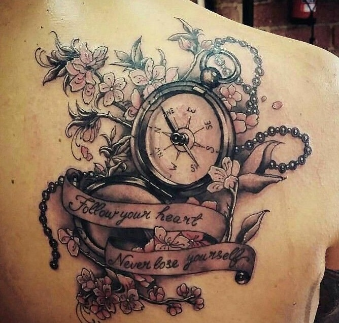 Pocket Watch Tattoo  at back for men