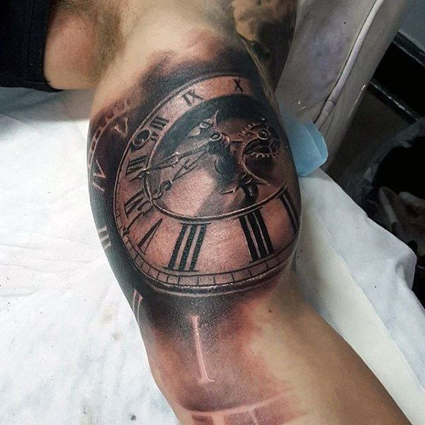 Pocket Watch Tattoo  on Arm for men