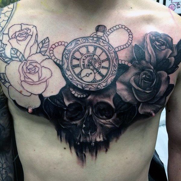 Pocket Watch Tattoo  with roses and skull on chest for men