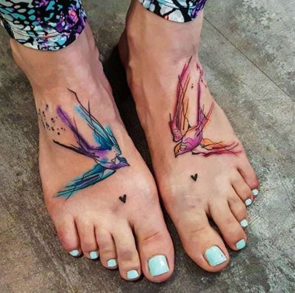 Super Cool Swallow Tattoo on foot for women