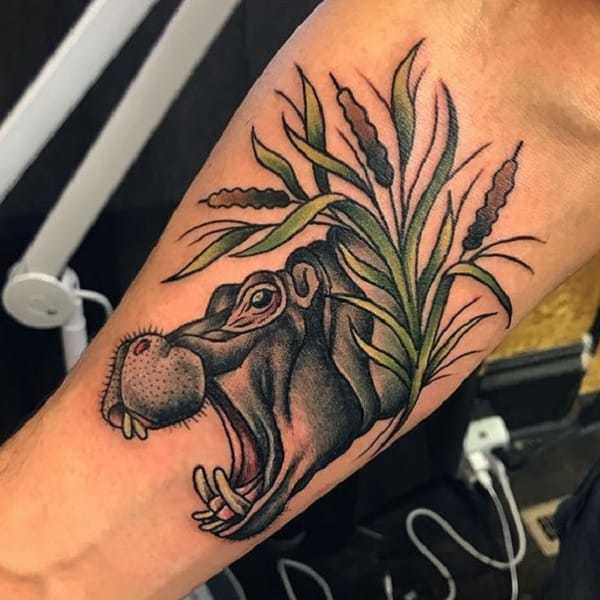 Realistic 3D Hippo Tattoo for men