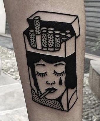 Cigarette Box Tattoo on leg for men