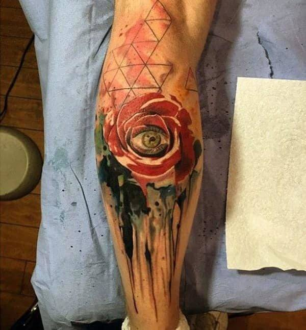 Eye with Red Rose Tattoo on Forearm