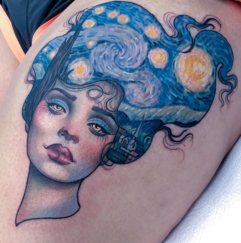 Super Cool art by Van Gogh's  Painting Tattoo