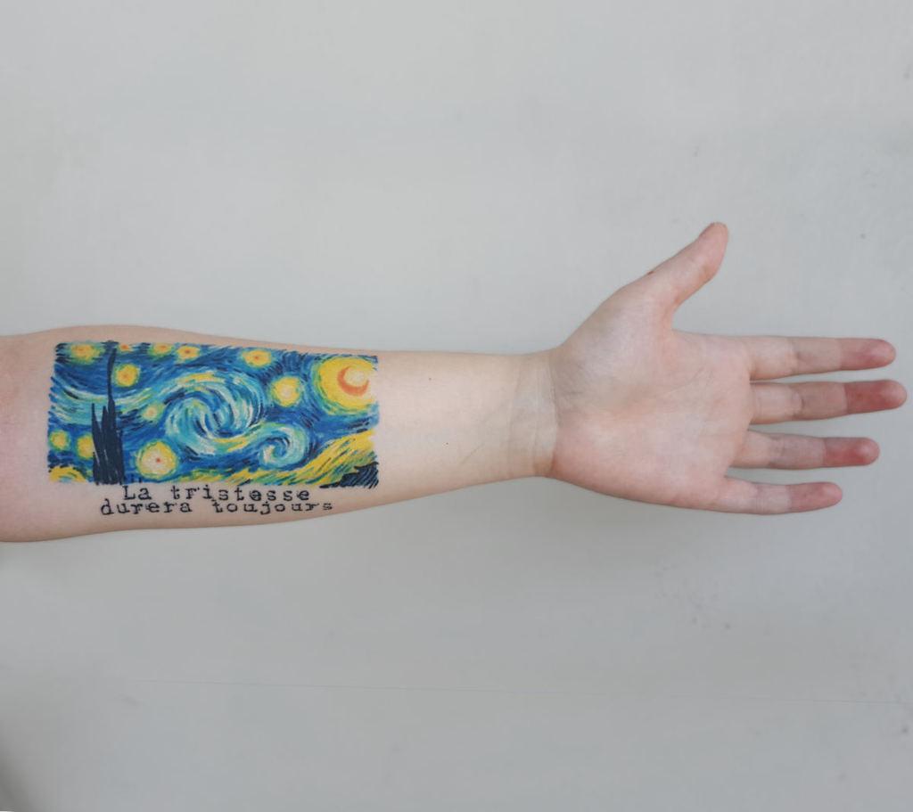Amazing Starry night Tattoo on hand