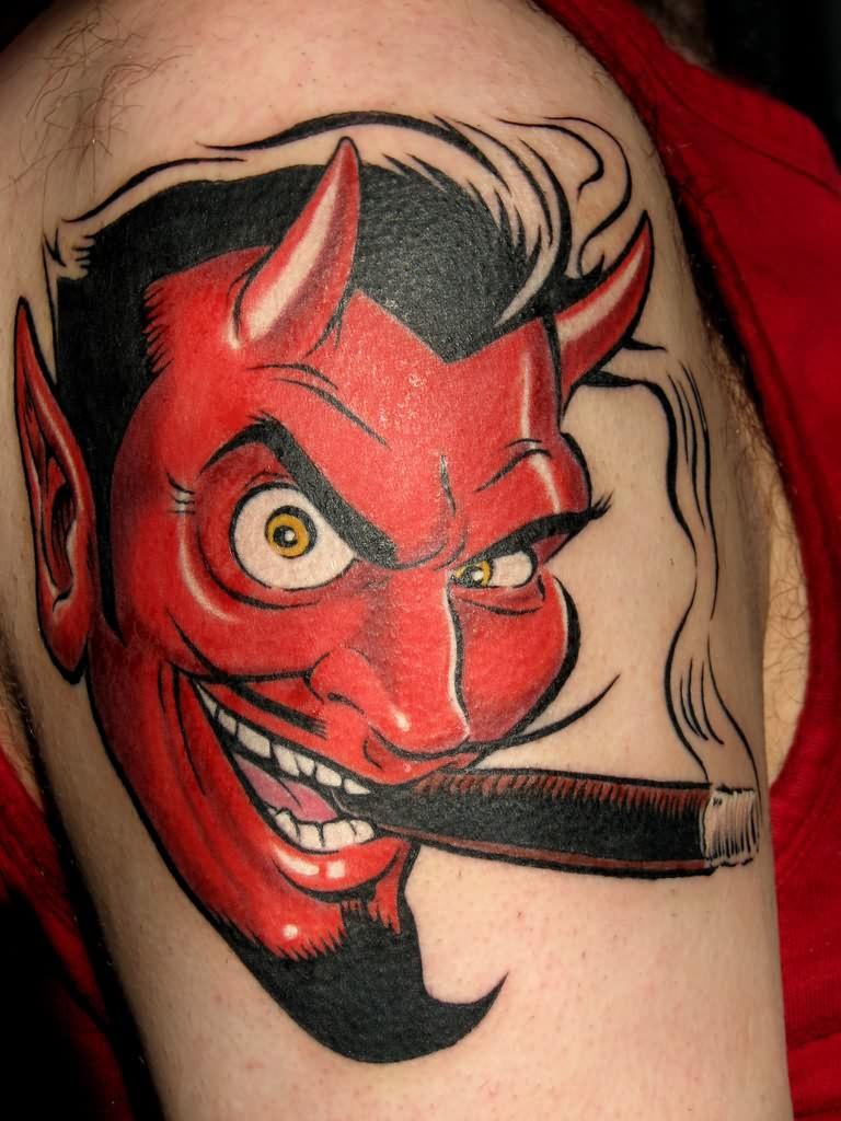 Devil Cigarette Smoking Tattoo on shoulder for men
