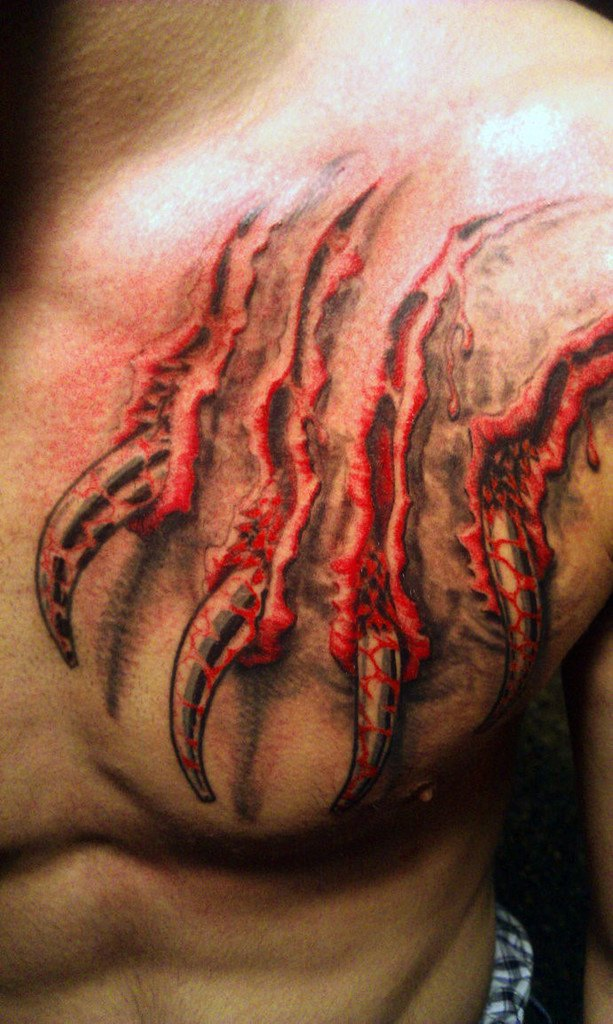 Blood Tattoo on chest for men