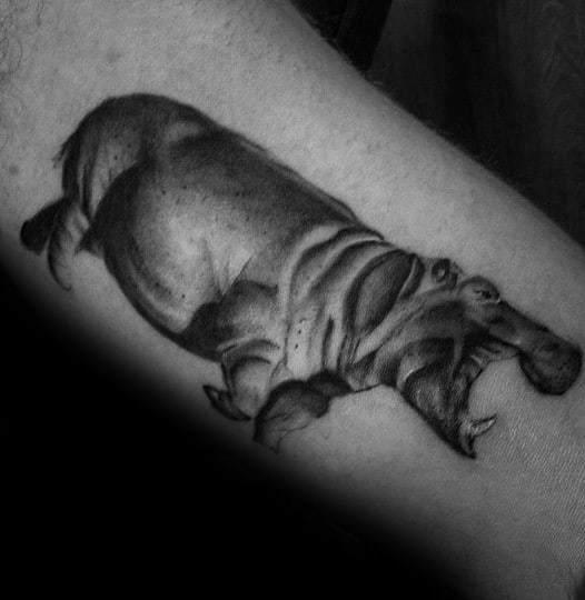 Bold Black Hippo Tattoo