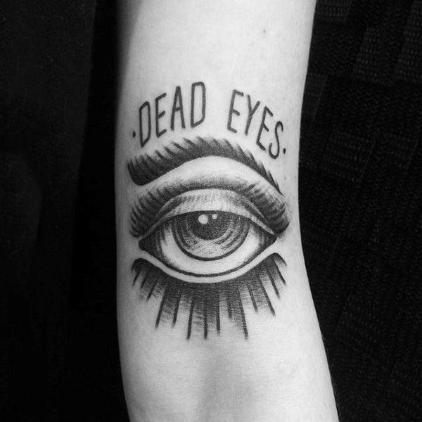 Classy Single Dead Eye Tattoo on arm for women