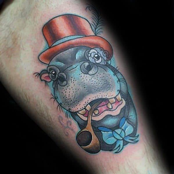 Hippo wearing hat Tattoo for men