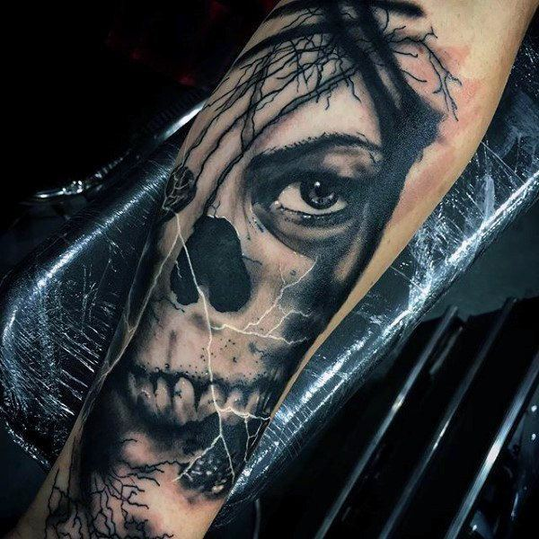 Ghost Single Eye Tattoo for men