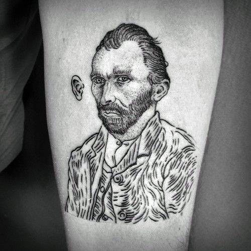 Simple Outline of Van Gogh's Tattoo for men