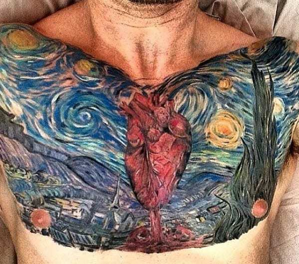 Van Gogh Painting Tattoo on chest