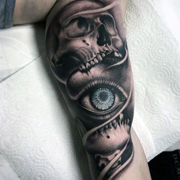 Black Bold One Eye Tattoo for Men