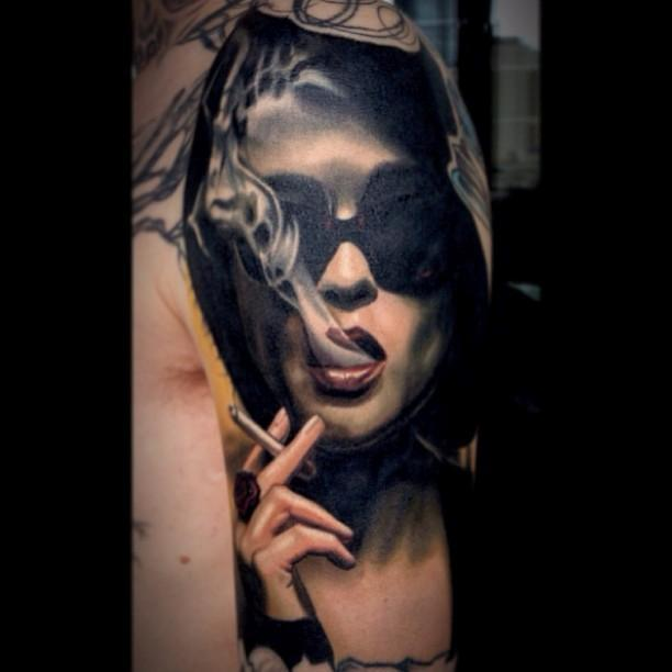 Girl Cigarette Smoking Tattoofor men